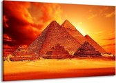 Canvas schilderij Piramide | Geel, Rood, Oranje | 140x90cm 1Luik