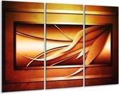 Canvas schilderij Abstract   Geel, Bruin, Oranje   120x80cm 3Luik