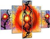 Glasschilderij Art   Rood, Zwart, Paars   100x70cm 5Luik   Foto print op Glas    F005605