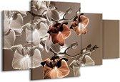 Canvas schilderij Orchidee   Grijs, Bruin   160x90cm 4Luik