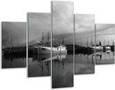 Glasschilderij Boot   Grijs, Zwart, Wit   100x70cm 5Luik   Foto print op Glas    F001744