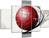 Glasschilderij Art   Rood, Zwart, Grijs   100x70cm 5Luik   Foto print op Glas    F005595