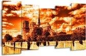 Canvas schilderij Parijs   Bruin, Geel, Wit   150x80cm 5Luik