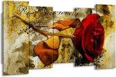 Canvas schilderij Roos | Rood, Bruin, Geel | 150x80cm 5Luik