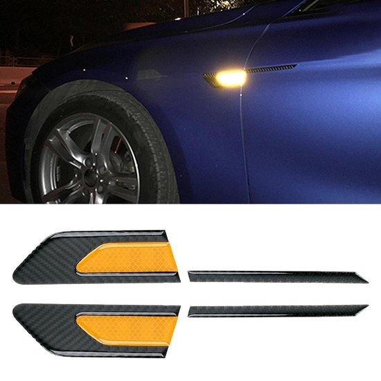 2 STKS Koolstofvezel Auto-Styling Fender Reflecterende Bumper Decoratieve Strip, Innerlijke Reflectie + Externe Koolstofvezel (Geel)