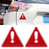 2 STKS Auto-Styling Driehoek Koolstofvezel Waarschuwing Sticker Decoratieve Sticker (Rood)