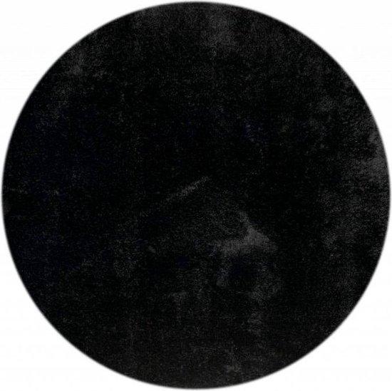 Ross 25 - Rond vloerkleed in zwarte kleursamenstelling