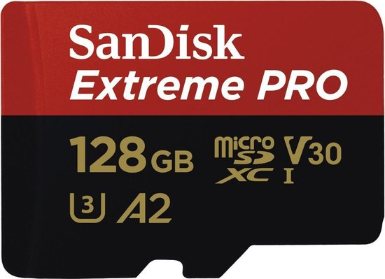 SanDisk Extreme Pro Micro SDXC 128GB - A2 V30 - met adapter