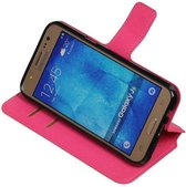 Wicked Narwal | Cross Pattern TPU bookstyle / book case/ wallet case voor Samsung galaxy j5 2015 Roze