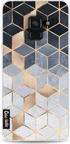 Samsung Galaxy A8 (2018) hoesje Soft Blue Gradient Cubes Casetastic Smartphone Hoesje softcover case