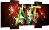 Canvas schilderij Abstract   Groen, Rood, Blauw   120x65 5Luik