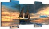 Canvas schilderij Zeilboot | Blauw, Geel, Grijs | 120x65 5Luik