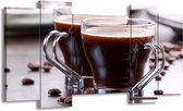Canvas schilderij Koffie | Bruin, Wit | 120x65 5Luik