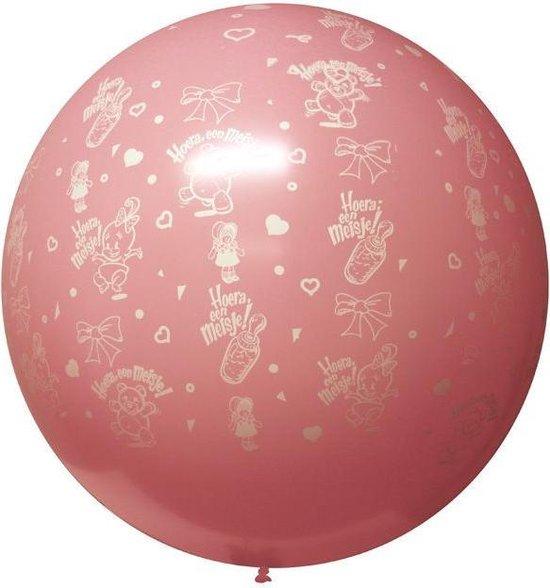 Megaballon hoera een meisje rose 36 inch (Ø 90cm)