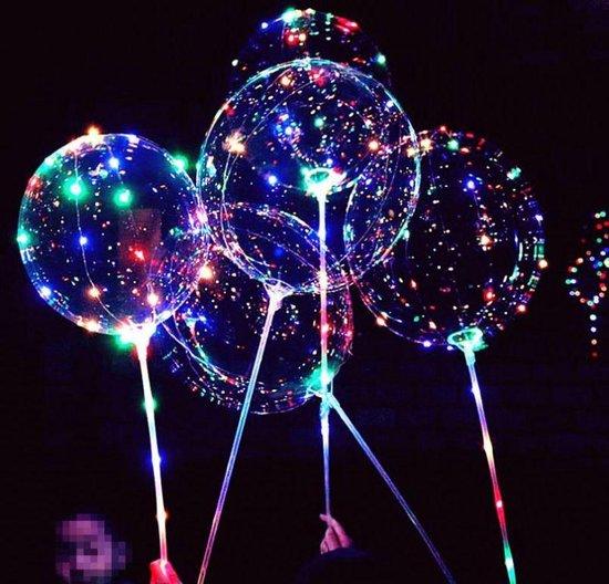 LED BoBo Ballonnen  3 stuks met roze handvat