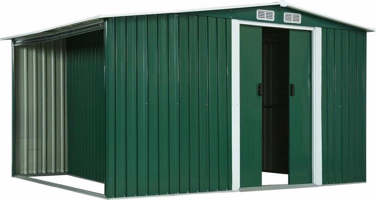 VidaXL Tuinschuur met schuifdeuren 329,5x131x178 cm staal groen VDXL_144019 online kopen