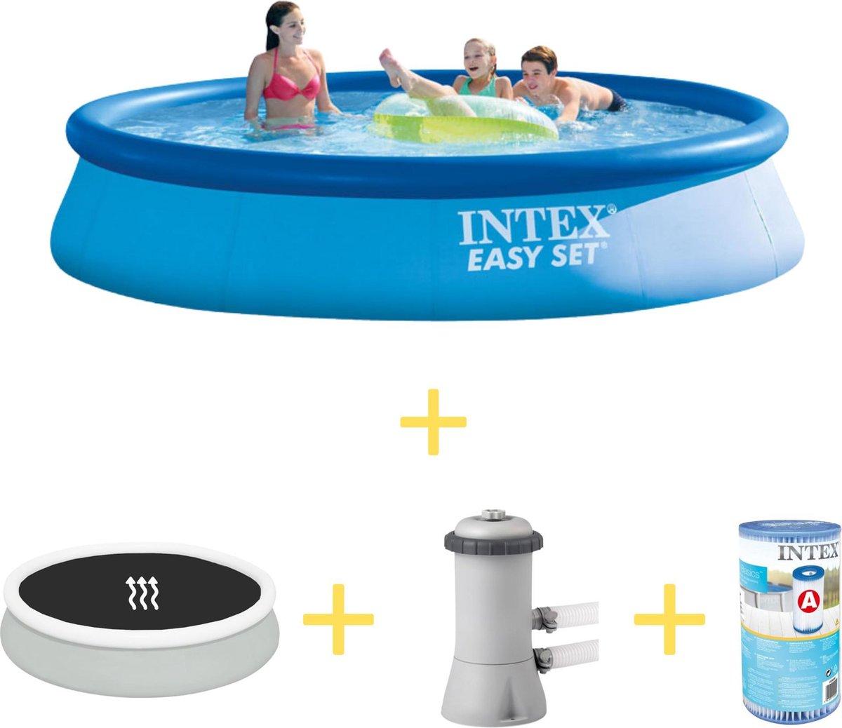 Intex Zwembad - Easy Set - 396 x 84 cm - Inclusief Solarzeil, Filterpomp & Filter