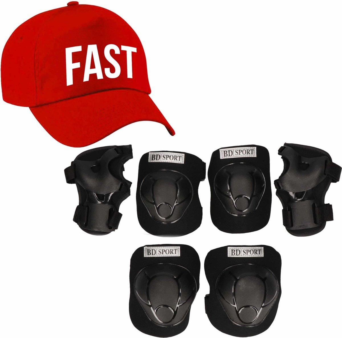 Set van valbescherming voor kinderen maat M / 6 tot 8 jaar met een stoere FAST pet rood