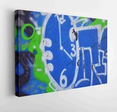 Texture of a fragment of the wall with graffiti painting, which is depicted on it. An image of a piece of graffiti drawing as a photo on street art and graffiti culture topics  - Modern Art Canvas - Horizontal - 677379913 - 50*40 Horizontal
