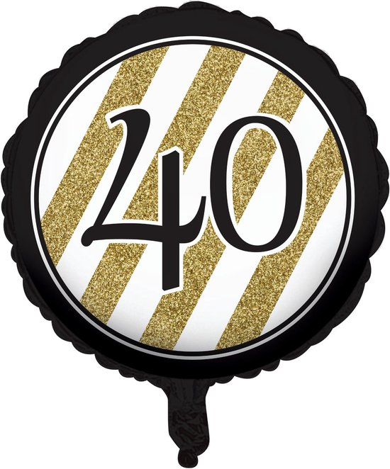 CREATIVE PARTY - Zwarte en goudkleurige 40 jaar aluminium ballon - Decoratie > Ballonnen