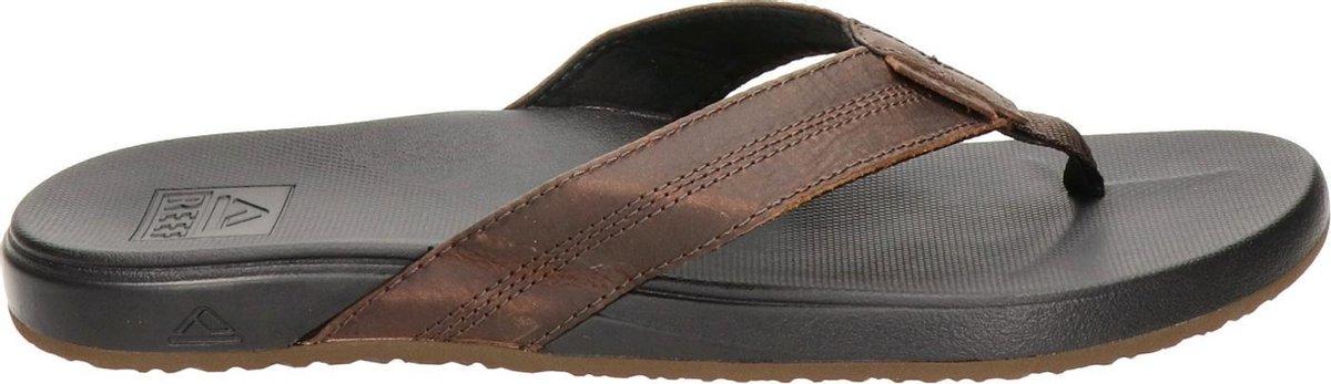 Reef Cushion Phantom Leather Heren Slippers - Black/Brown - Maat 43