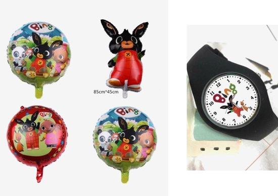 Bing horloge zwart  inclusief 4 folie ballonnen, verjaardag pakket, kado