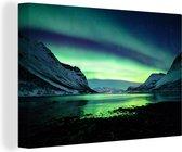 Canvas Schilderijen - Noorderlicht - Noorwegen - IJs - 120x80 cm - Wanddecoratie