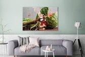 Watermeloen wordt tot moes geslagen Canvas 140x90 cm - Foto print op Canvas schilderij (Wanddecoratie woonkamer / slaapkamer)
