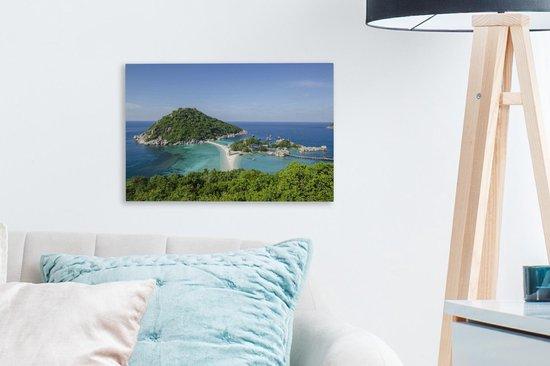 Eilanden voor de kust van Ko Tao Thailand Canvas 30x20 cm - klein - Foto print op Canvas schilderij (Wanddecoratie woonkamer / slaapkamer)
