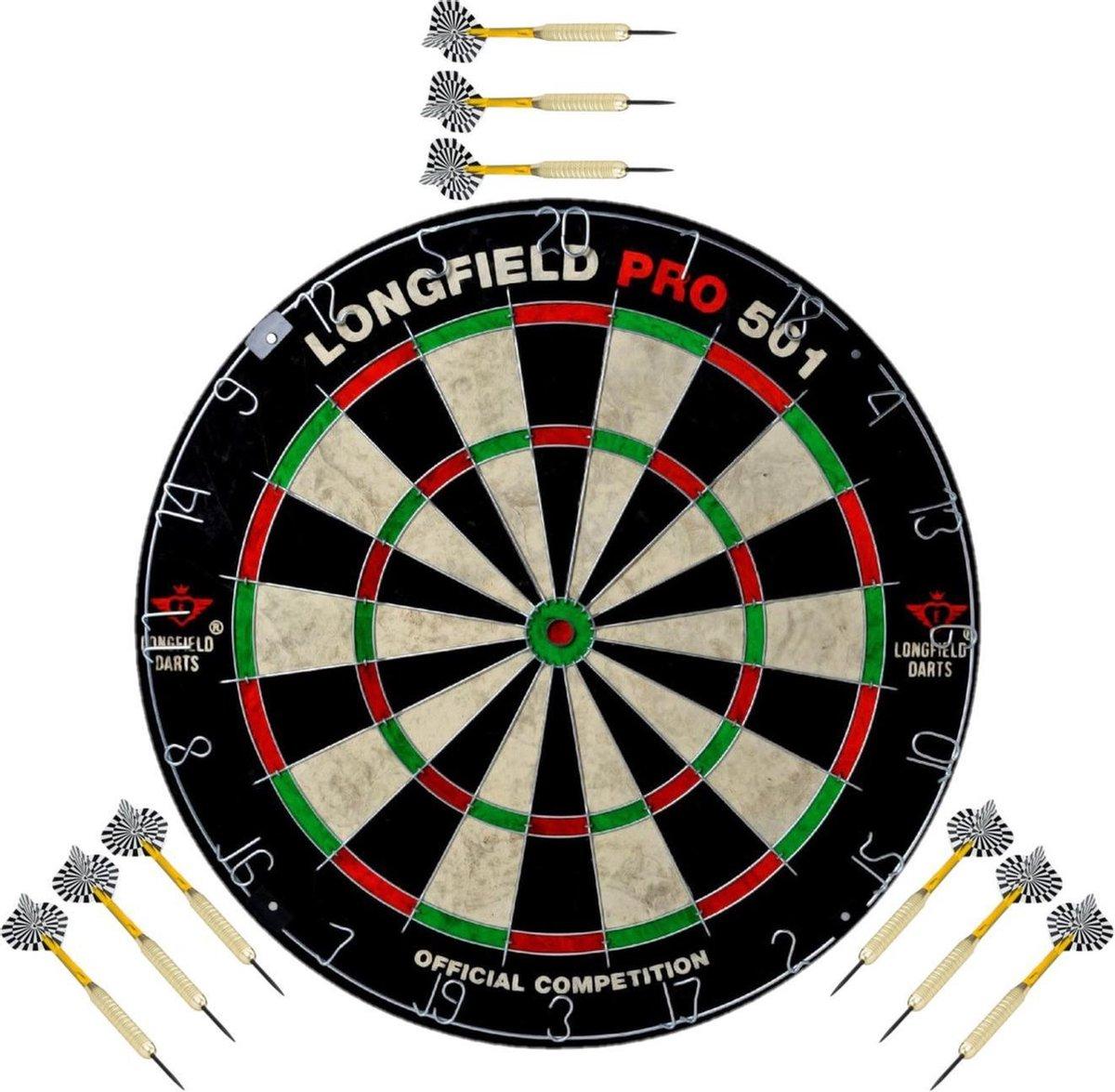 Dartbord set compleet van diameter 45.5 cm met 9x dartpijlen van 24 gram - Longfield professional - Darten