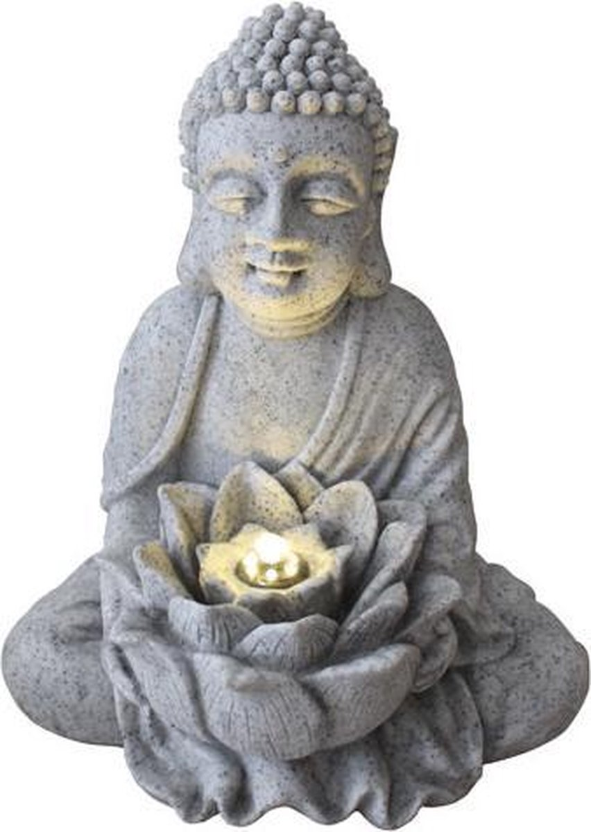 Fine Asianliving Zandsteen Buddha met Lotus Fontein 31.5x26.8x37cm