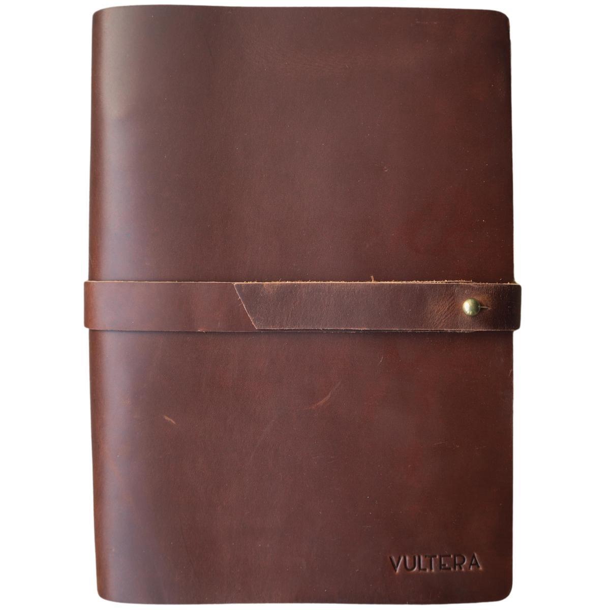 Vultera Leren Notitieboek A5 met ringband   gelinieerd - Hervulbaar - Lederen kaft - geschikt als da