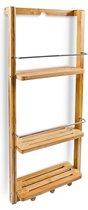 relaxdays Badkamermeubel - Badkamer kastje / kast - Bamboe hout - 3 planken + 3 haken.