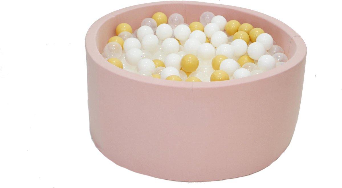 Ballenbak Roze 90x40 met 250 ballen Wit, Transparant, Beige
