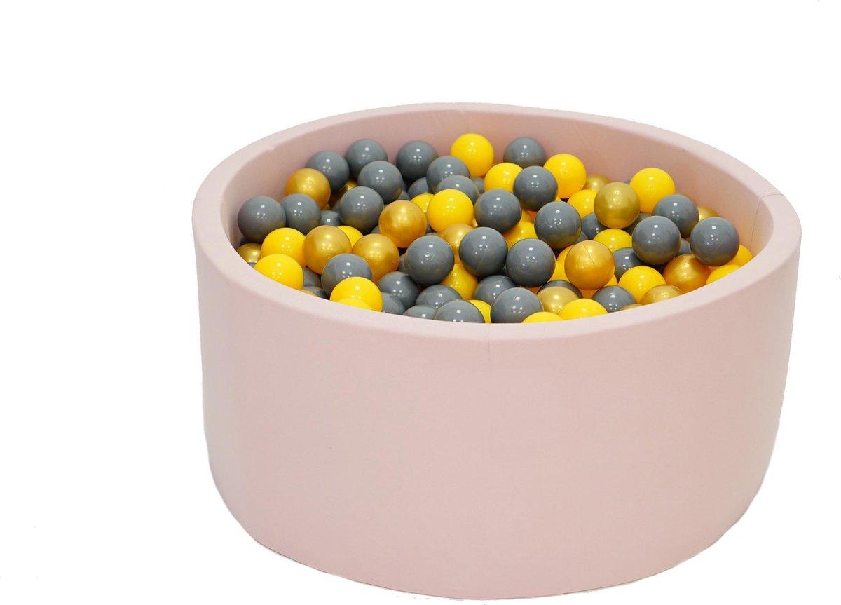Ballenbak Roze 90x40 met 250 ballen Geel, Goud, Grijs Zwart