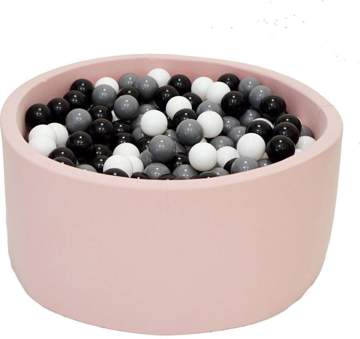 Ballenbak Roze 90x40 met 250 ballen Zwart, Wit, Grafiet Zwart