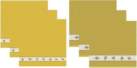 DDDDD Keukendoeken En Theedoeken Set Bees Yellow (3+3 stuks)