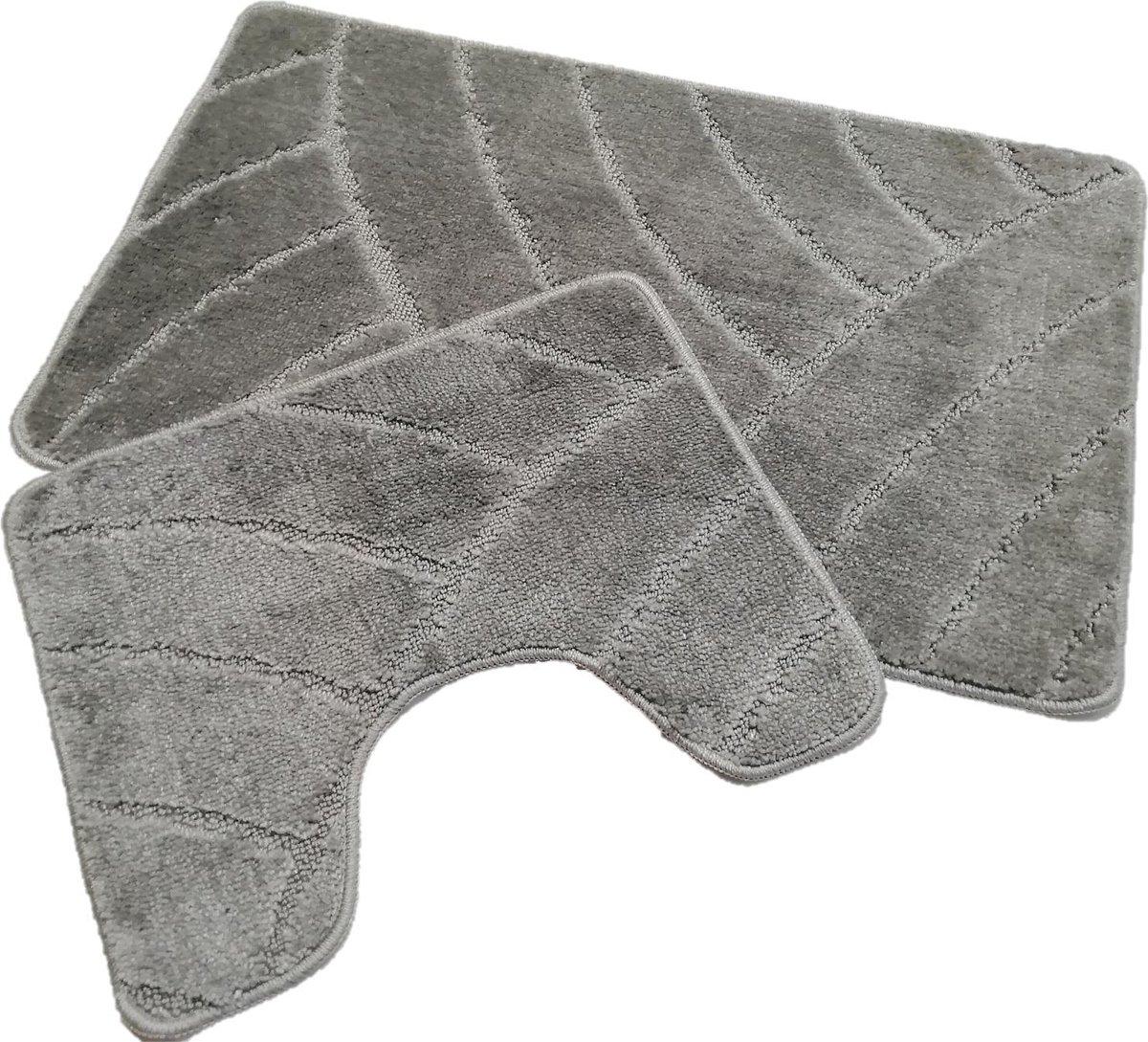 Badmat set klassiek grijs - 50 x 80 cm + 40 x 50 cm