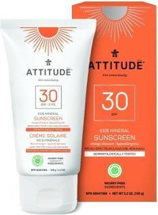 Attitude Zonnebrand Geurvrij creme - 150 ml Tube - SPF 30 - Ecologisch - Mineralen