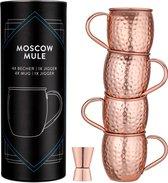 Navaris Moscow Mule bekers - Set van 4 - Cocktailbekers - Mok voor Moscow Mule en cocktails - Roestvrij staal - 4 koperen mokken - Inclusief jigger