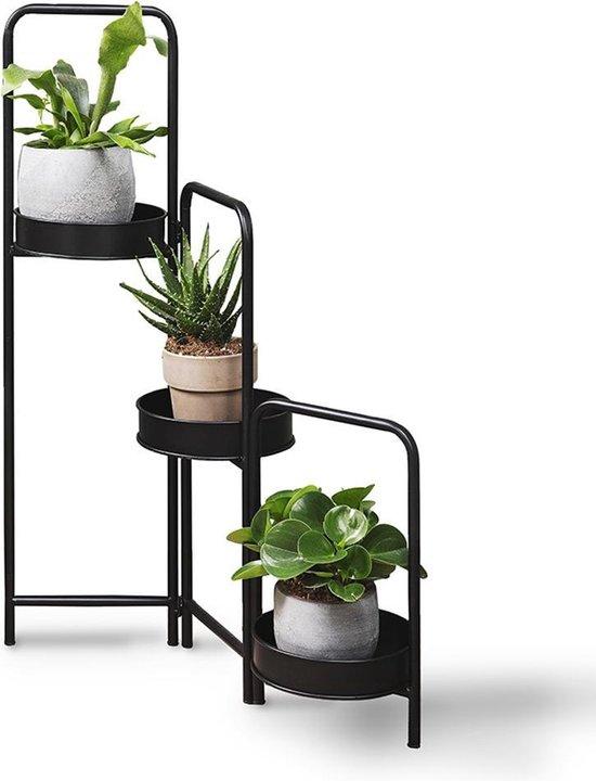LIFA LIVING Plantenhouder - Plantenbak - Industrieel - 3-delig - Metaal - Zwart - 25 x 52 x 90 cm