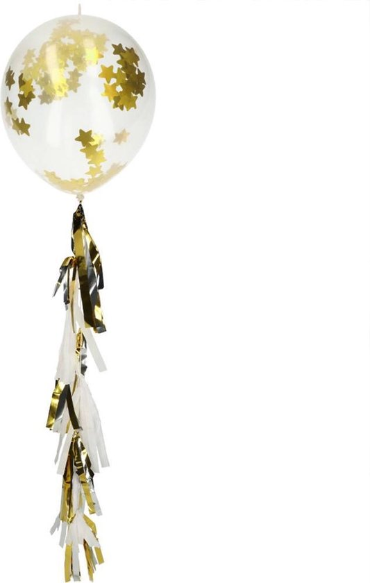 Confetti ballonnen Sterren met Tassel Goud- 3 stuks