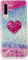 Let op type!! Voor Huawei P30 gekleurde tekening patroon IMD vakmanschap zachte TPU beschermhoes (rood hart)