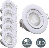 B.K.Licht - Artemis LED Inbouwspot - kantelbaar - wit - 5-delige set - Ø90mm - woonkamer spot - keuken spotjes