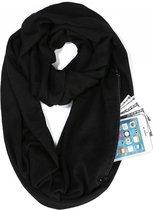Sjaal met zakken | opbergvakje met rits | Omslagdoek met vakje/zakje | 4 seizoenen draagbaar, ook winter | 160 x 30cm | ronde sjaal