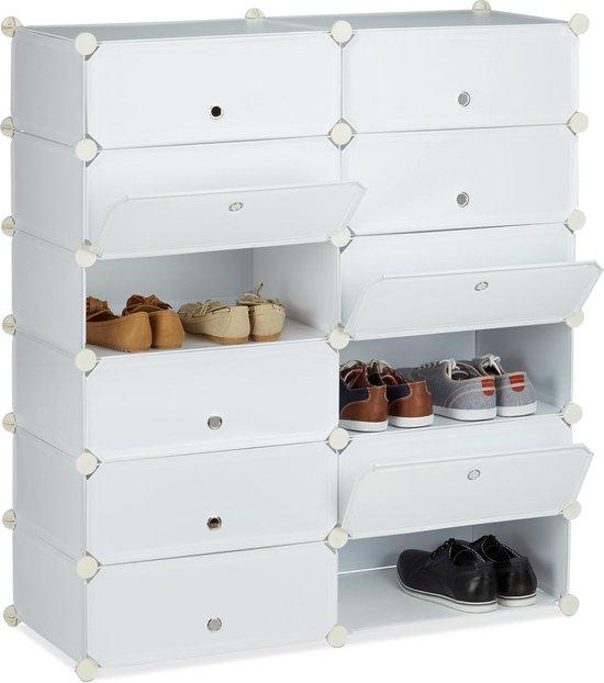 relaxdays schoenenrek 12 vakken - schoenenkast XXL - groot rek - kunststof - kliksysteem wit