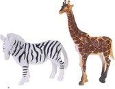 Free And Easy Dierenset 2-delig Giraffe En Zebra 8 Cm