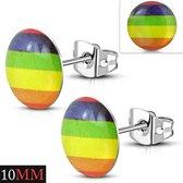 oorknoppen gay pride-acryl- staal-10mm