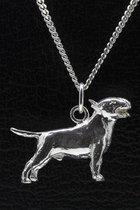 Zilveren Bull terrier ketting hanger - groot