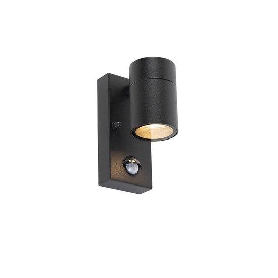 QAZQA solo - Moderne Wandlamp met Bewegingsmelder | Bewegingssensor | sensor voor buiten - 1 lichts - D 10.5 cm - Zwart - Buitenverlichting